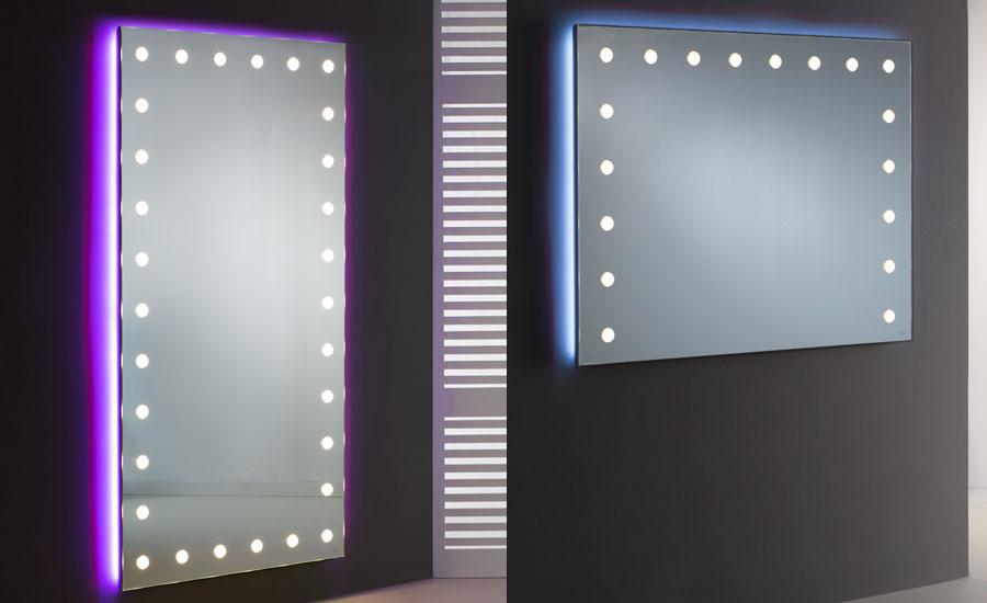 Specchio con le luci illuminato da salone parrucchieri e centri estetici unica by cantoni
