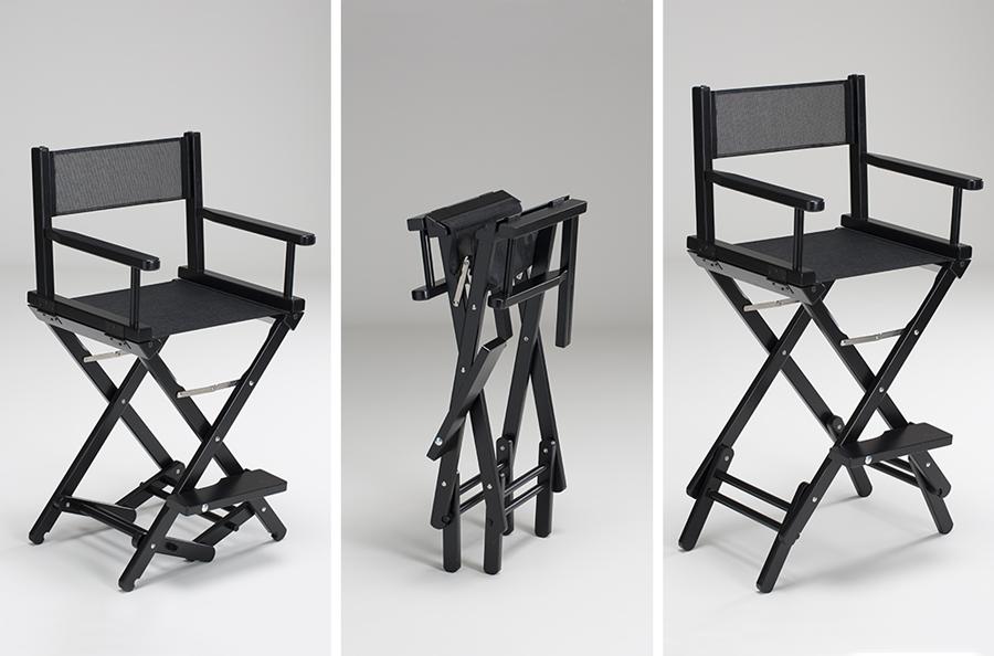 Sedia make up Cantoni in legno laccato nero, doppia altezza