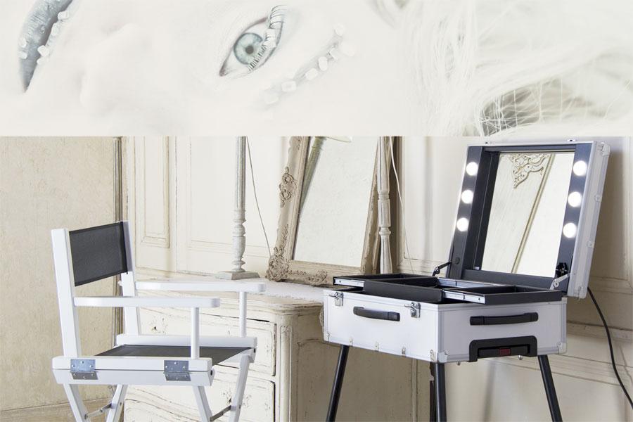 Cantoni FrozenWhite: postazioni trucco, specchi illuminati e sedie ...