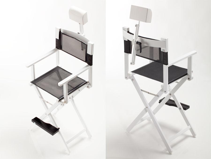 cantoni frozenwhite sedia trucco make up con poggiatesta postazioni trucco luci gambe specchi sedie make up bianco colore truccatori makeupartist professionisti
