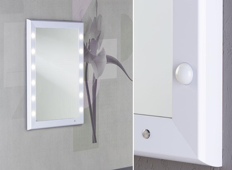 cantoni frozenwhite specchio illuminato con 12 luci trucco make up bianco colore truccatori makeupartist professionisti