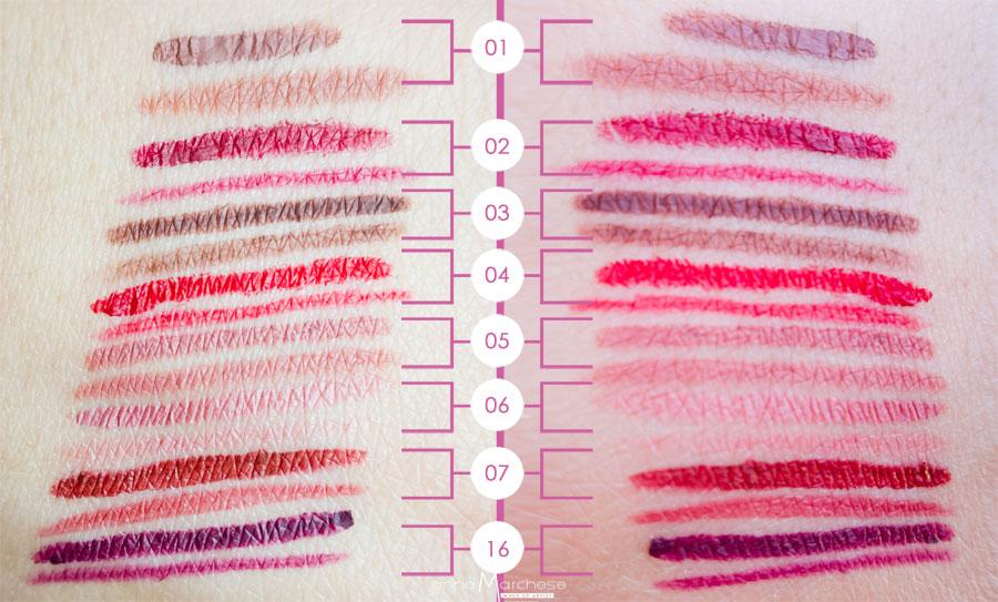 swatch matite labbra rossetto vor make up by valeria orlando - recensione, foto