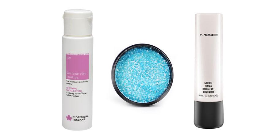 Lozione viso lenitiva alla malva Biofficina Toscana - Scrub Ocean Salt LUSH - Strobe Cream MAC