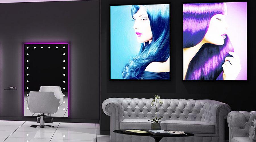 visual pannelli modulari personalizzabili salone di bellezza parrucchieri make up artist specchi illuminati