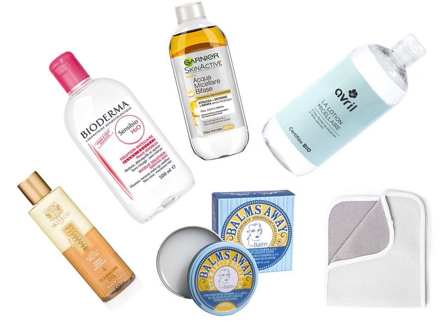 migliori-struccanti-acqua-micellare-olio-struccante-detergente-viso-solido-panno-struccante-acqua-micellare-bioderma-sensibio-garnier-avril-the-balm-skin-co-roma