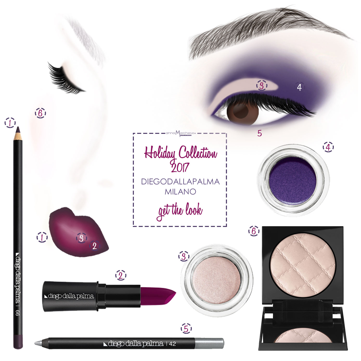 get-the-look-diego-dalla-palma-holiday-collection-natale-2017-face-chart-degrade-lips-ombre-gradient-lipstick-how-to-idea-purple-eyes-hot-lips-cherry-lipstick-matt-anna-marchese