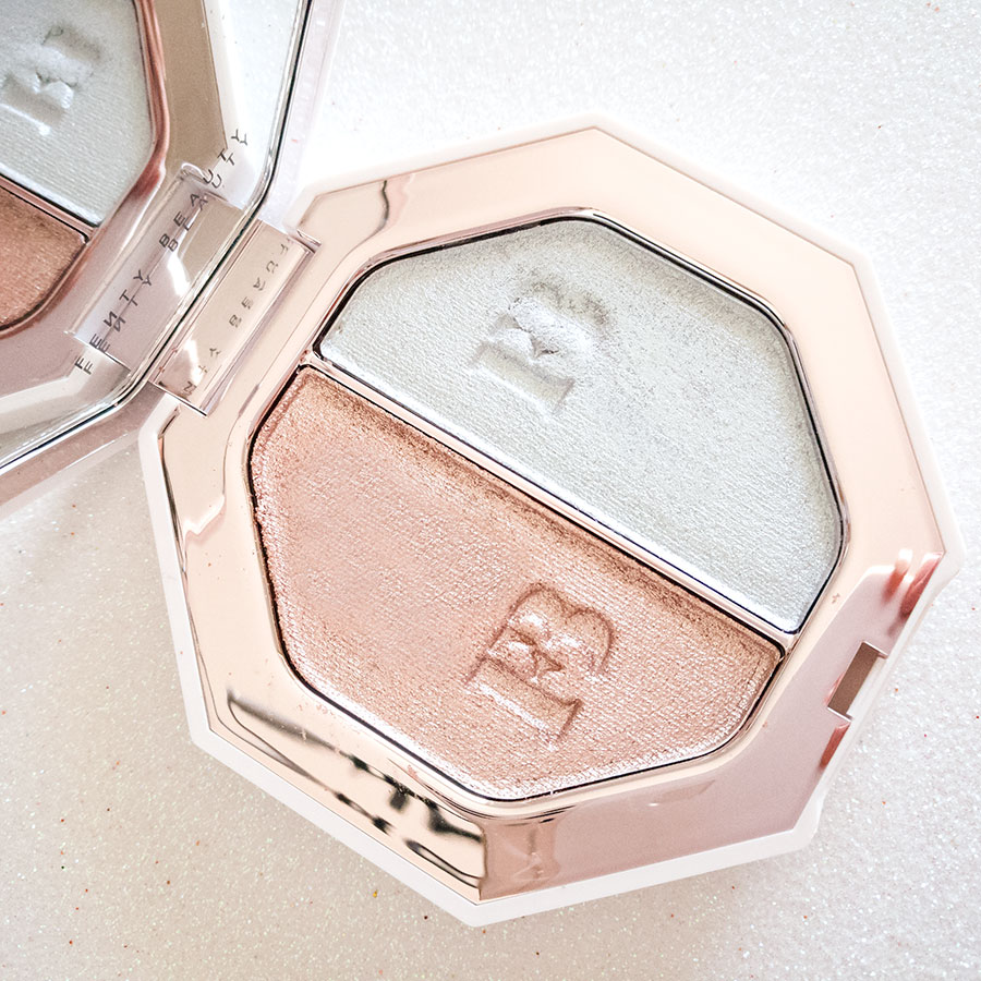 Fenty-beauty-review-recensione-foto-swatch-killawatt-foil-freestyle-highlighter-illuminante-duo-sand-castle-mojito-2