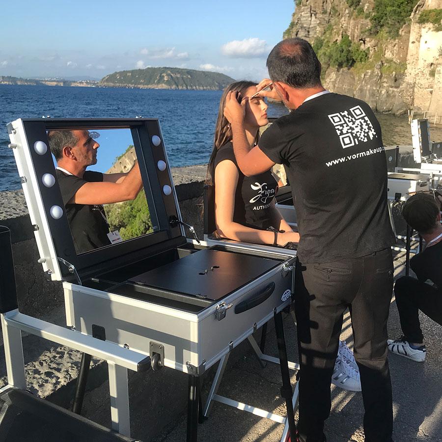Il vor make up team di valeria orlando a Ischia Fashion Week 2018 postazioni trucco Cantoni