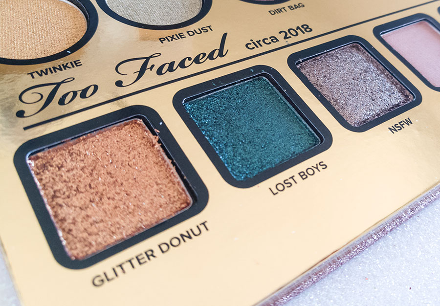 too-faced-then-and-now-palette-20 anni-years-anniversary-swatch-review glitter donut lost boys nsfw